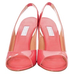 New Edmundo Castillo Coral Patent Leather Sling Heels Sz 8.5