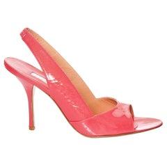 New Edmundo Castillo Coral Patent Leather Sling Heels Sz 9.5