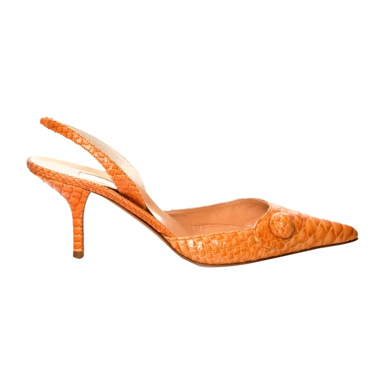 New Edmundo Castillo Light Cognac Python Snakeskin Pump Heels Sz 7 For Sale