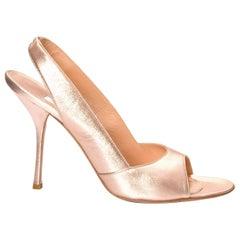 New Edmundo Castillo Metallic Rose Gold Soft Napa Leather Heels