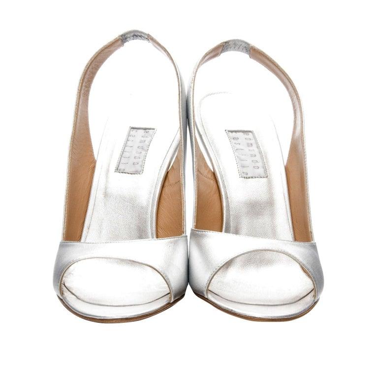 New Edmundo Castillo Metallic Silver Soft Napa Leather Sling Heels In New Condition For Sale In Leesburg, VA