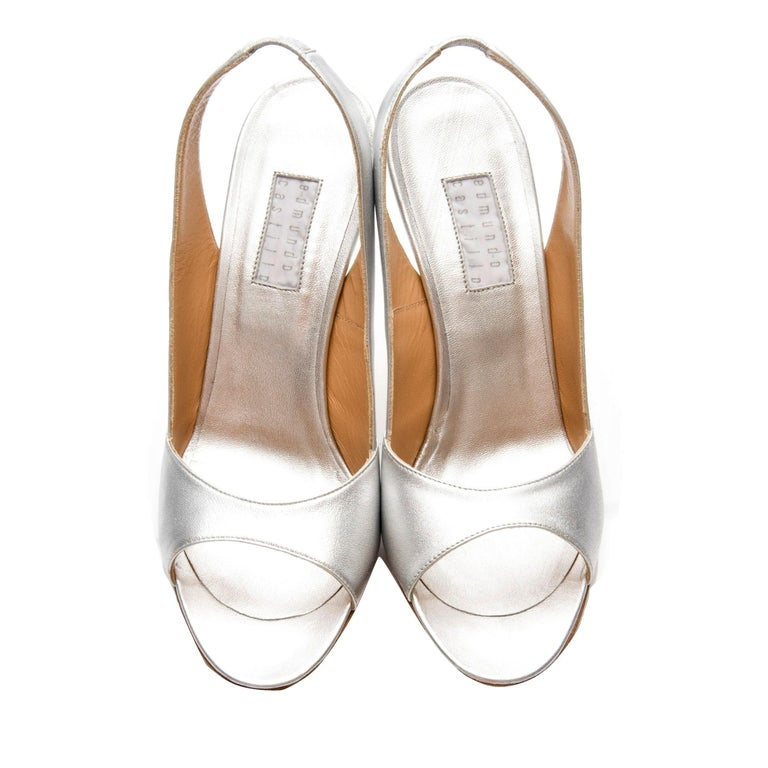 New Edmundo Castillo Metallic Silver Soft Napa Leather Sling Heels Sz 7.5 For Sale 1