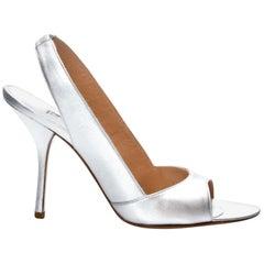 New Edmundo Castillo Metallic Silver Soft Napa Leather Sling Heels Sz 7