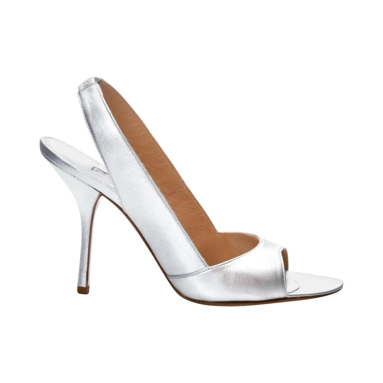 New Edmundo Castillo Metallic Silver Soft Napa Leather Sling Heels Sz 7.5 For Sale