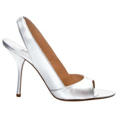 New Edmundo Castillo Metallic Silver Soft Napa Leather Sling Heels Sz 7.5