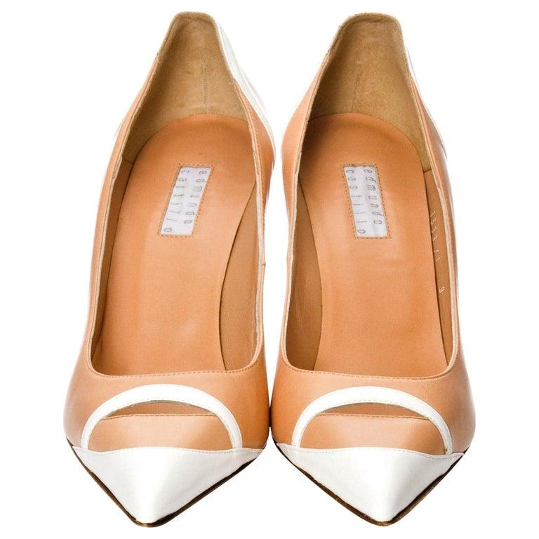 New Edmundo Castillo Peach and White Leather Heels Pumps Sz 8.5 For Sale