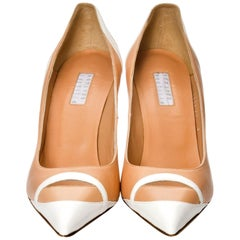 New Edmundo Castillo Peach and White Leather Heels Pumps Sz 8.5