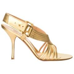 New Edmundo Castillo Soft Metallic Gold Napa Leather Sling Heels