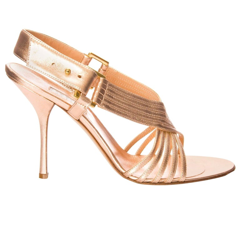 New Edmundo Castillo Soft Metallic Rose Gold Napa Leather Sling Heel 7.5 For Sale