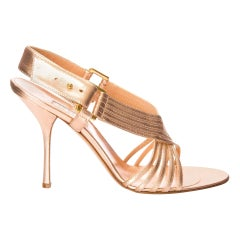 New Edmundo Castillo Soft Metallic Rose Gold Napa Leather Sling Heel Sz 7.5