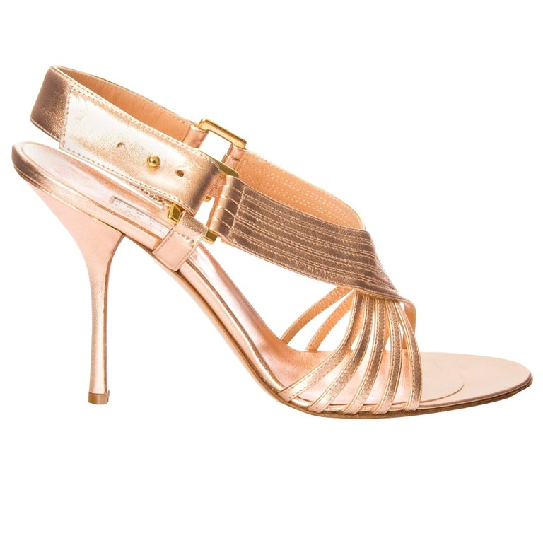 New Edmundo Castillo Soft Metallic Rose Gold Napa Leather Sling Heels 8.5 For Sale