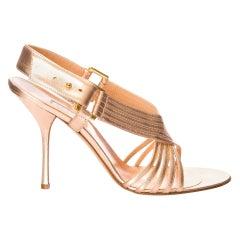 New Edmundo Castillo Soft Metallic Rose Gold Napa Leather Sling Heels Sz 10