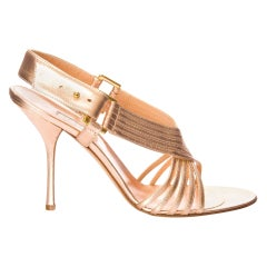 New Edmundo Castillo Soft Metallic Rose Gold Napa Leather Sling Heels Sz 7
