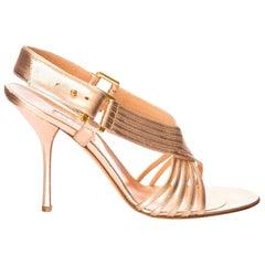 New Edmundo Castillo Soft Metallic Rose Gold Napa Leather Sling Heels Sz 7