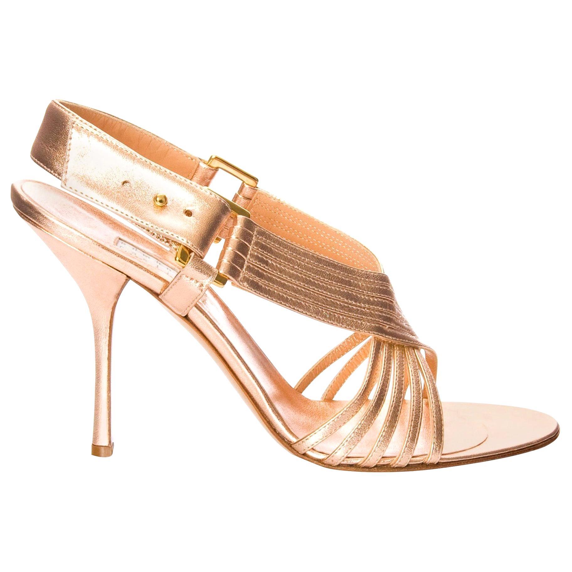 New Edmundo Castillo Soft Metallic Rose Gold Napa Leather Sling Heels Sz 8