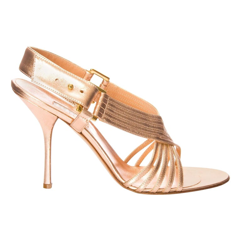 New Edmundo Castillo Soft Metallic Rose Gold Napa Leather Sling Heels Sz 9 For Sale