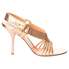 New Edmundo Castillo Soft Metallic Rose Gold Napa Leather Sling Heels Sz 9.5