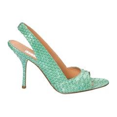 New Edmundo Castillo Teal Green Python Sling Heels Sz 6.5