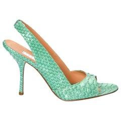 New Edmundo Castillo Teal Green Python Snakeskin Pump Heels Sz 7