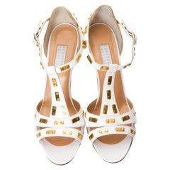 New Edmundo Castillo White Leather and Gold Metal Heels Sz 8.5