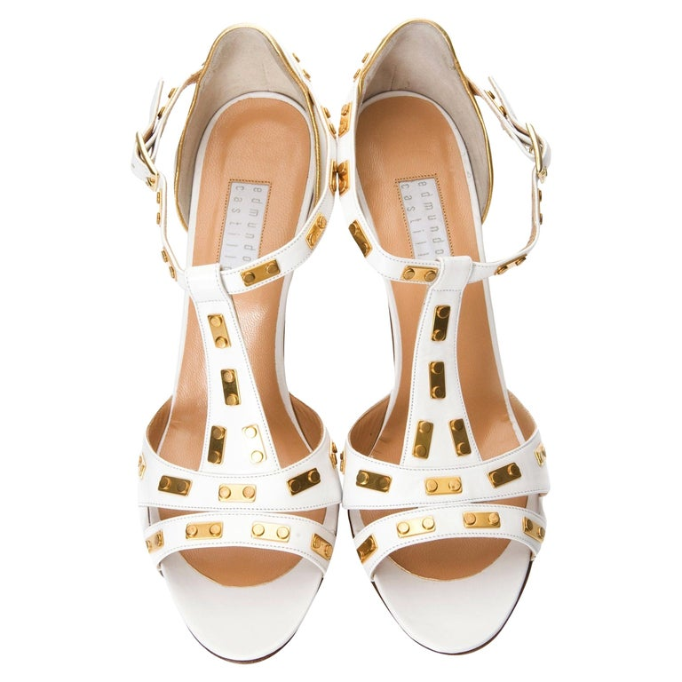 New Edmundo Castillo White Leather and Gold Metal Heels Sz 8.5 For Sale