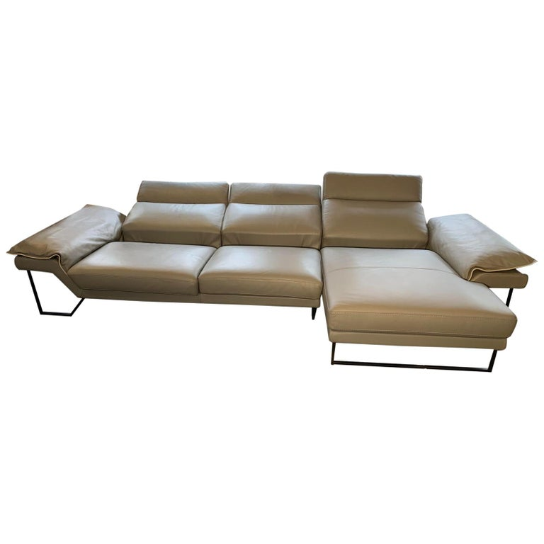 Admirable New El Coral Leather Sofa Chaise By Delta Solatti Italy Customarchery Wood Chair Design Ideas Customarcherynet