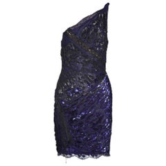 New EMILIO PUCCI Asymmetric beaded navy blue lace dress Size 40 - 4