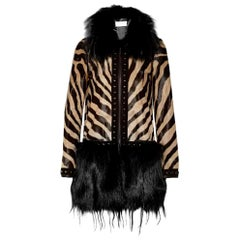 New Emilio Pucci Beige Fox and Kidassia On Ponyskin Coat IT40 US 4
