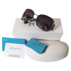 New Emilio Pucci Black Aviator Sunglasses With Case & Box