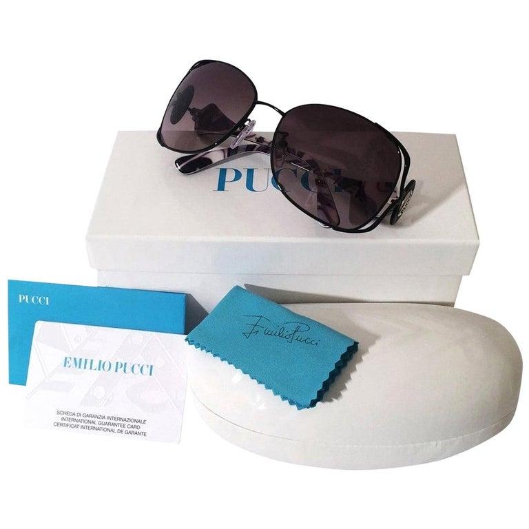 New Emilio Pucci Black Aviator Sunglasses With Case & Box For Sale
