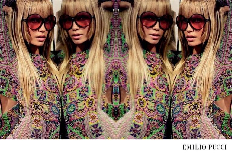 New Emilio Pucci Black Logo Sunglasses With Case & Box For Sale 9
