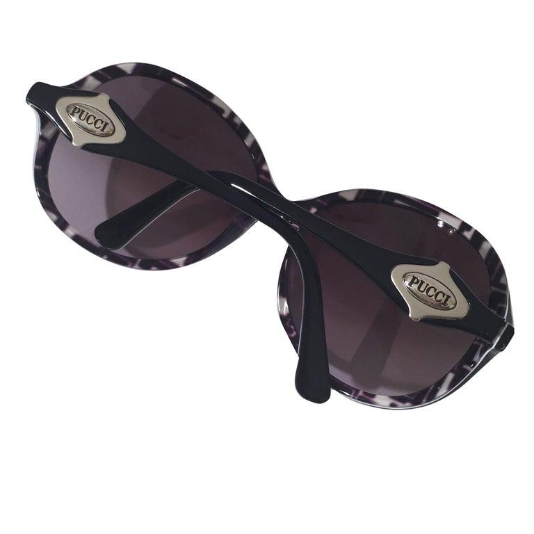 New Emilio Pucci Black Logo Sunglasses With Case & Box For Sale 1