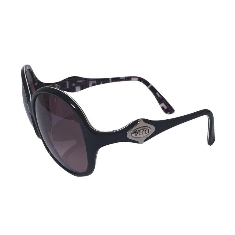 New Emilio Pucci Black Logo Sunglasses With Case & Box For Sale 4