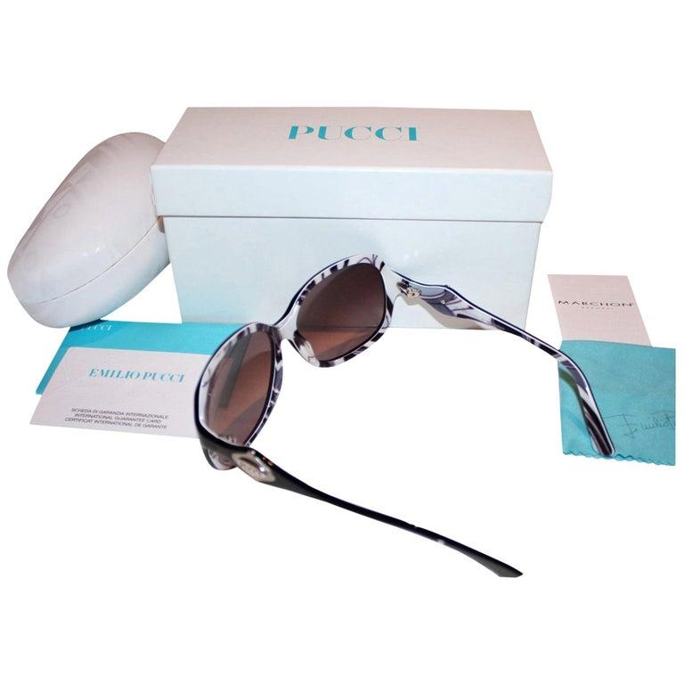 New Emilio Pucci Black Logo Sunglasses With Case & Box For Sale