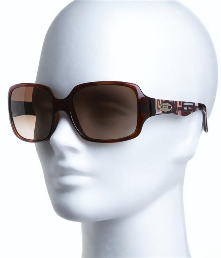 New Emilio Pucci Brown Logo Sunglasses With Case & Box For Sale 5