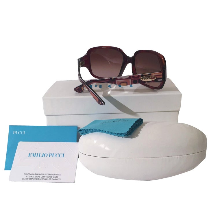 Women's New Emilio Pucci Brown Logo Sunglasses With Case & Box For Sale