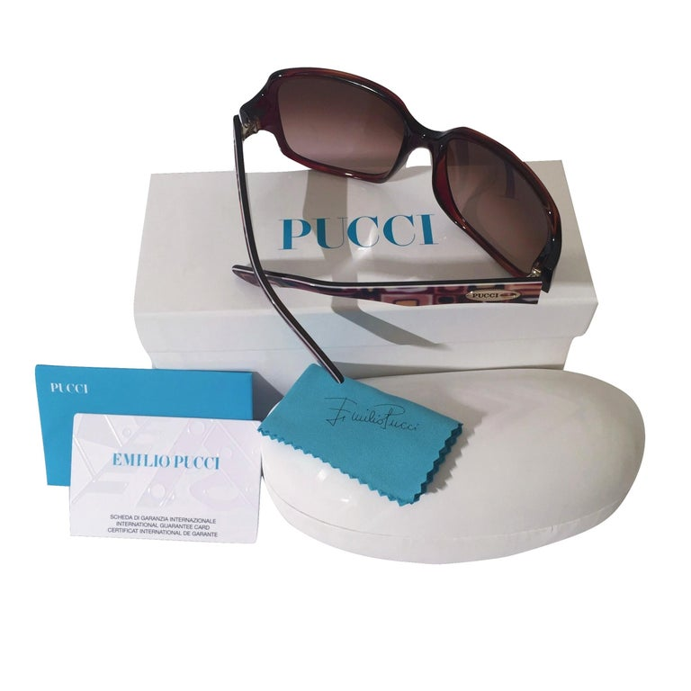 New Emilio Pucci Brown Logo Sunglasses With Case & Box For Sale 2