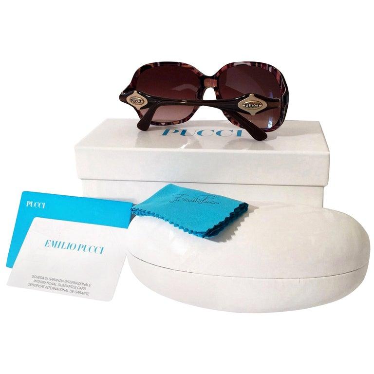 New Emilio Pucci Brown Logo Sunglasses With Case & Box For Sale