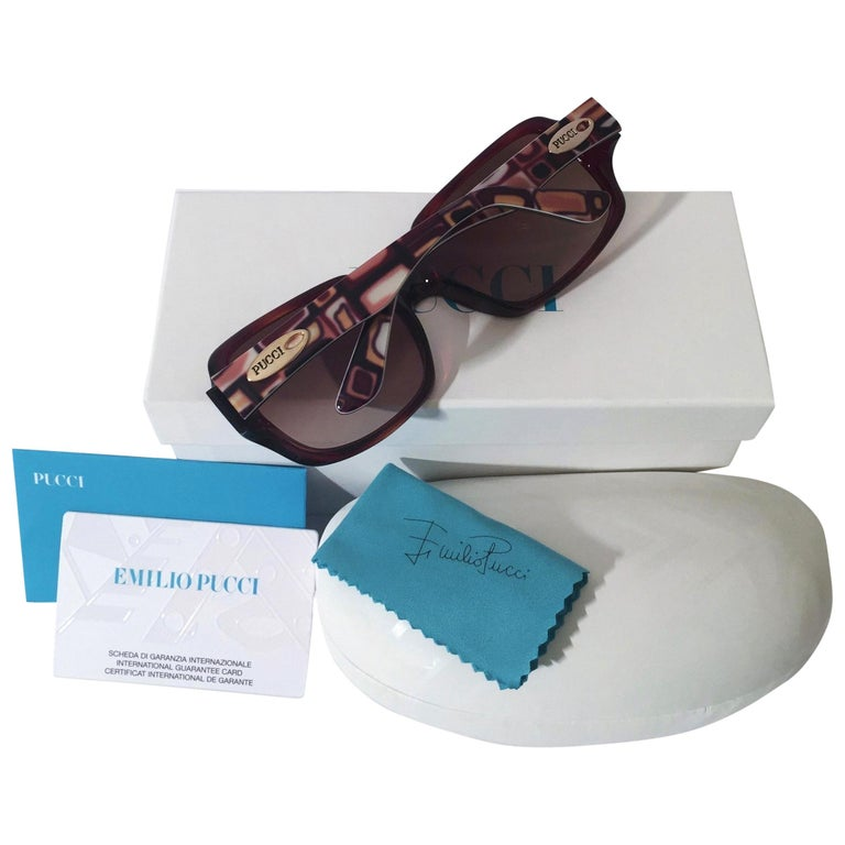 New Emilio Pucci Brown Logo Sunglasses With Case & Box For Sale