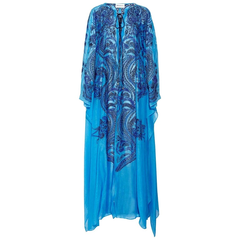 NEW Emilio Pucci by Peter Dundas Lace-Up Eyelet Embroidered Maxi Kaftan Dress For Sale