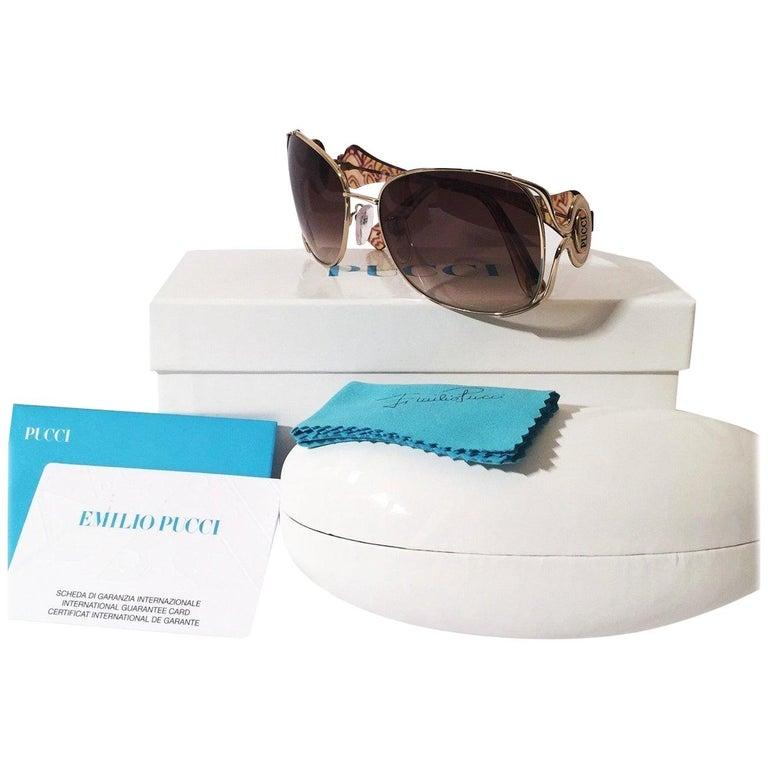 New Emilio Pucci Gold Aviator Sunglasses  With Case & Box For Sale