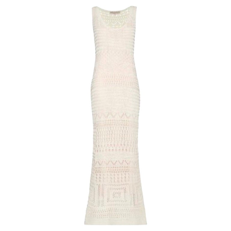 NEW Emilio Pucci Ivory Crochet Knit Maxi Dress Gown For Sale