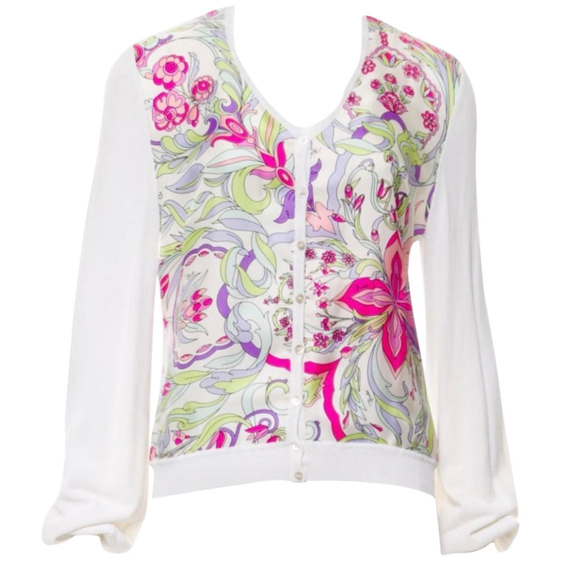 NEW Emilio Pucci Knit & Printed Silk Cardigan Jacket