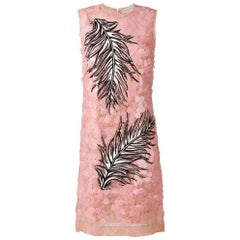 New Emilio Pucci Pailette Lace Feather Embroidered Dress IT44 US8