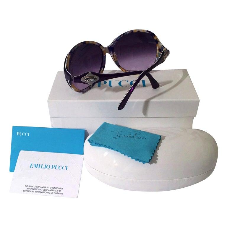 New Emilio Pucci Purple Logo Sunglasses  With Case & Box For Sale