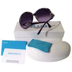 New Emilio Pucci Purple Logo Sunglasses  With Case & Box