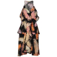 NEW Emilio Pucci Signature Print Crepe de Chine Feathers Print Silk Dress