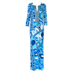 NEW Emilio Pucci Signature Print Embellished Maxi Dress Gown