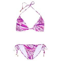 NEW Emilio Pucci Signature Print Triangle Bikini Swimsuit Swimwear