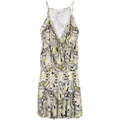 NEW Emilio Pucci Silk Jersey Fan Signature Print Cocktail Dress